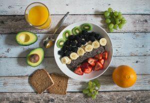 fruit, avocado, chia seed, bread