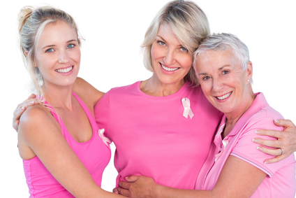 Meta Slider - HTML Overlay - Women wearing pink tops and ribbons for breast cancer on white background