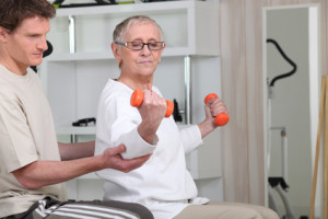 senior woman doing exercises