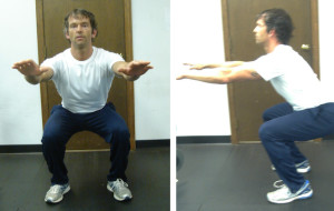 Fig 6. Squat in frontal view Squat in side view